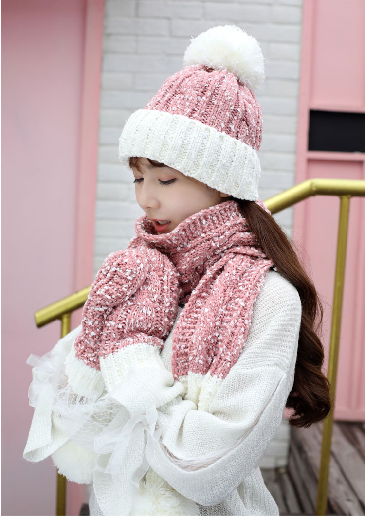 at and scarf set hat and scarf women\`s knitted hat and scarf for women Hat & Glove Sets hat and scarf set winter hat and scarf sets (1)