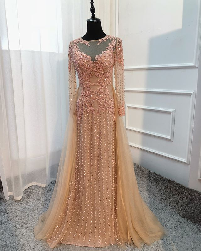 New Arrival Long   Evening     Dress   2019 O-Neck Long Sleeves Floor Length Beading Tulle Formal Gowns Party   Dresses