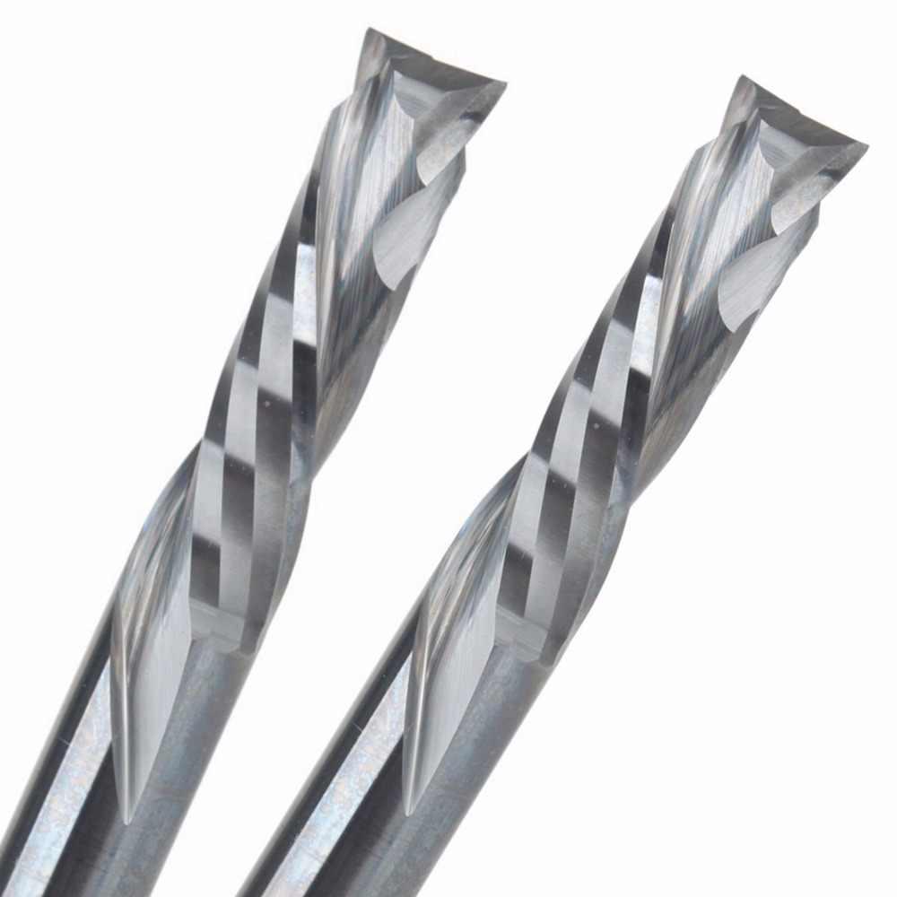 10 Pcs 3.175 4 6 millimetri UP DOWN Tagliare Due Flauti Spirale in metallo duro Mulino Strumento Frese e taglierine per micro SIM per il Router di CNC, compressione Wood End Mill Cutter Bit
