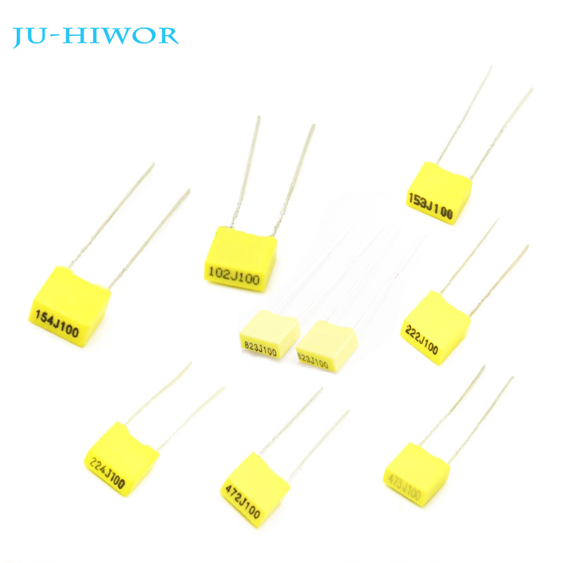 20pcs 100V Polypropylene Safety Plastic <font><b>Film</b></font> Correction <font><b>Capacitor</b></font> Yellow 1nF 2.2nF 10nF 22nF 56nF 82nF <font><b>100nF</b></font> 150nF 220nF 470nF image
