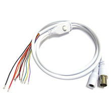 2pcs 80cm BNC Video DC12V Power OSD Control Pigtail Cable Analog CCTV Camera Module Board Menu Button end cable, black, white