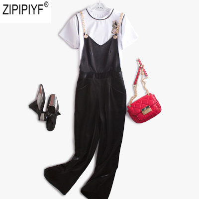 2018 New Fashion Women Chffion Jumpsuits Casual Sexy Romper Ladies Loose Overalls Black Solid Jumpsuits For 4 seasons C103