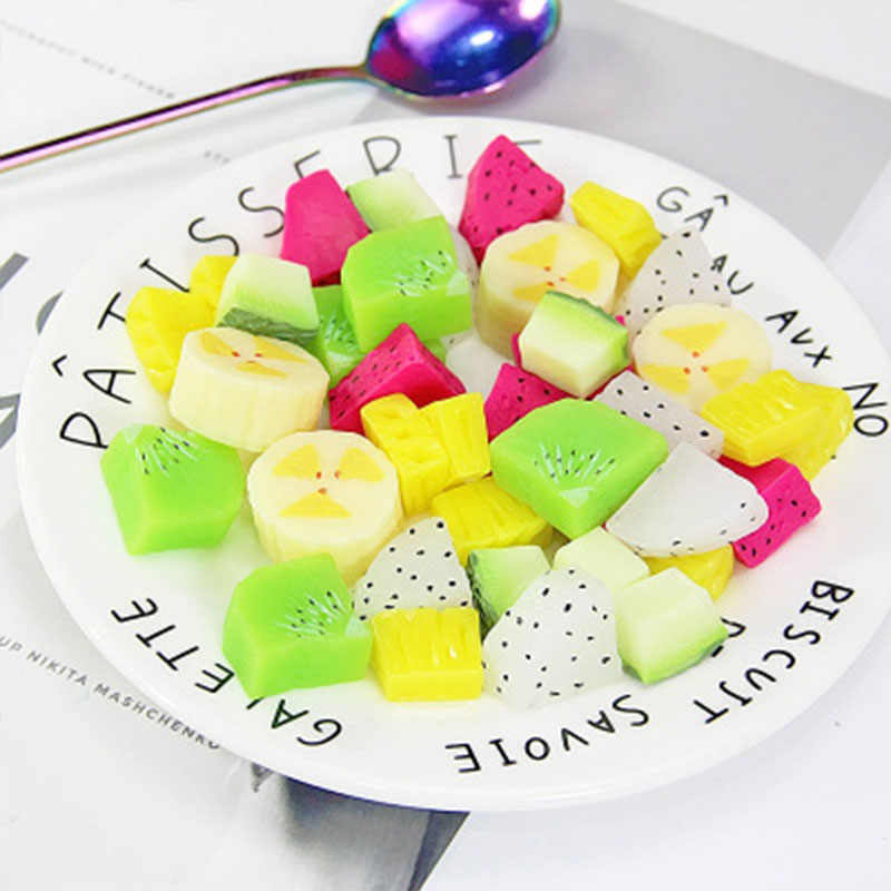 Slime filled simulation fruit slice cream plastic resin slime accessories set material packaging mucus filling jewelry