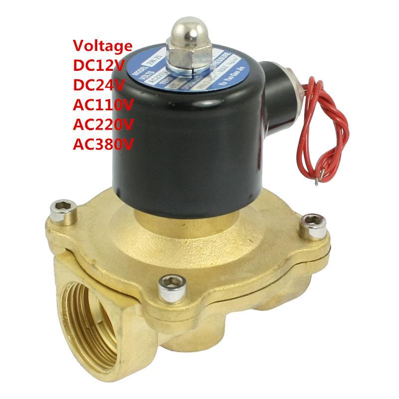 1'' Water Solenoid Valve Air Oil Brass Valve NBR 2W250-25 DC12V DC24V AC110V or AC220V free shipping 1 8 2 5mm pore stainless steel water solenoid valve viton 2s025 06 dc12v dc24v ac110v or ac220v