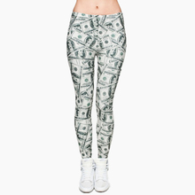 Legging Stretchy-Trousers Money-Dollar Legins Full-Printing Women Pants Graphic Ladies