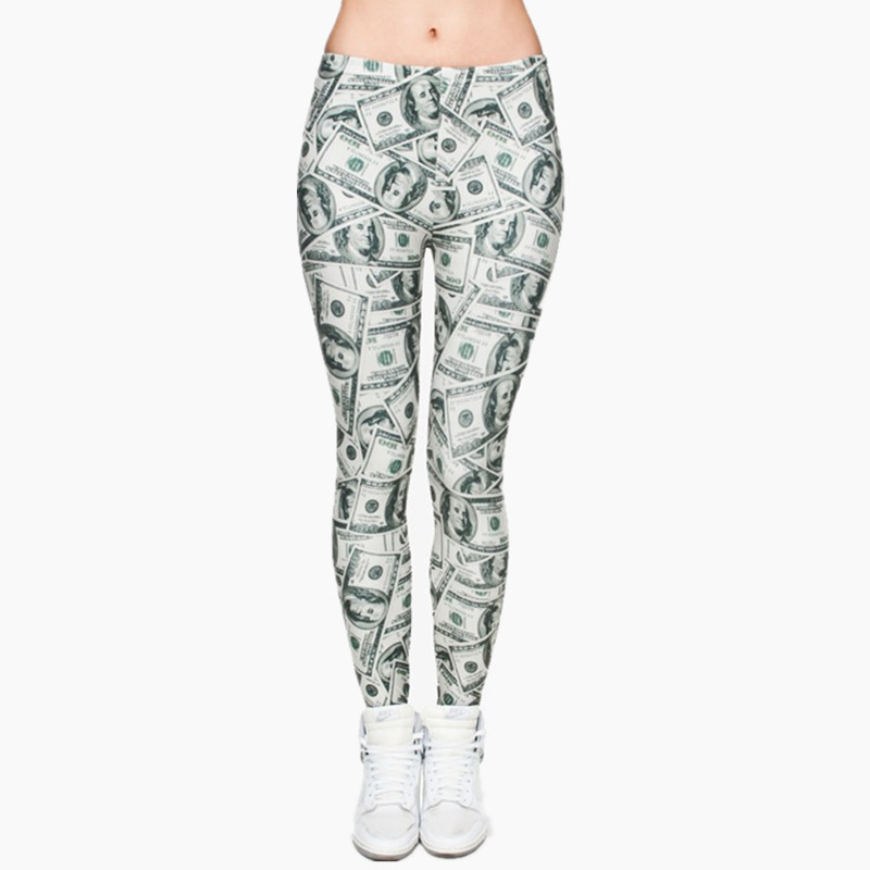 Women Money Dollar Graphic Full Printing Pants Legins Ladies Legging Stretchy Trousers Slim Fit Leggings