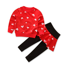 Free shipping  spring and autumn girls cotton 2pcs suit long sleeve love print love letter set baby girl clothes kids new 2017 spring autumn kids girls sports suit tiger print girls set long sleeve top