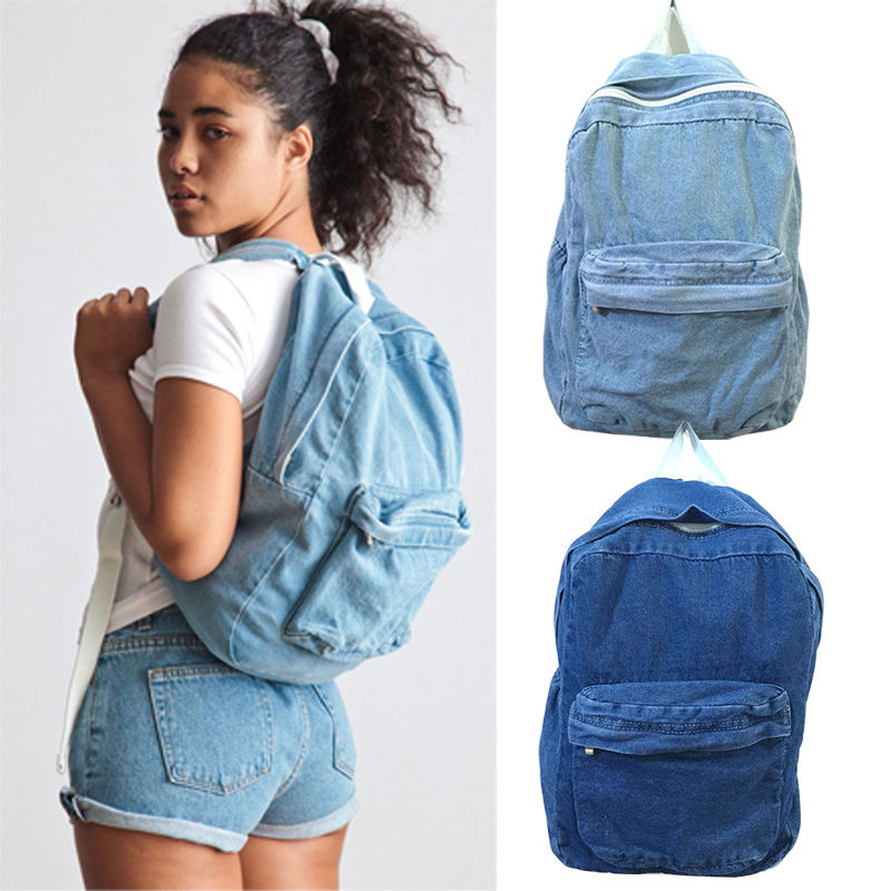 Boys Girls Unisex Vintage Washed Denim Jean School Bag Travel Matching Backpack ...
