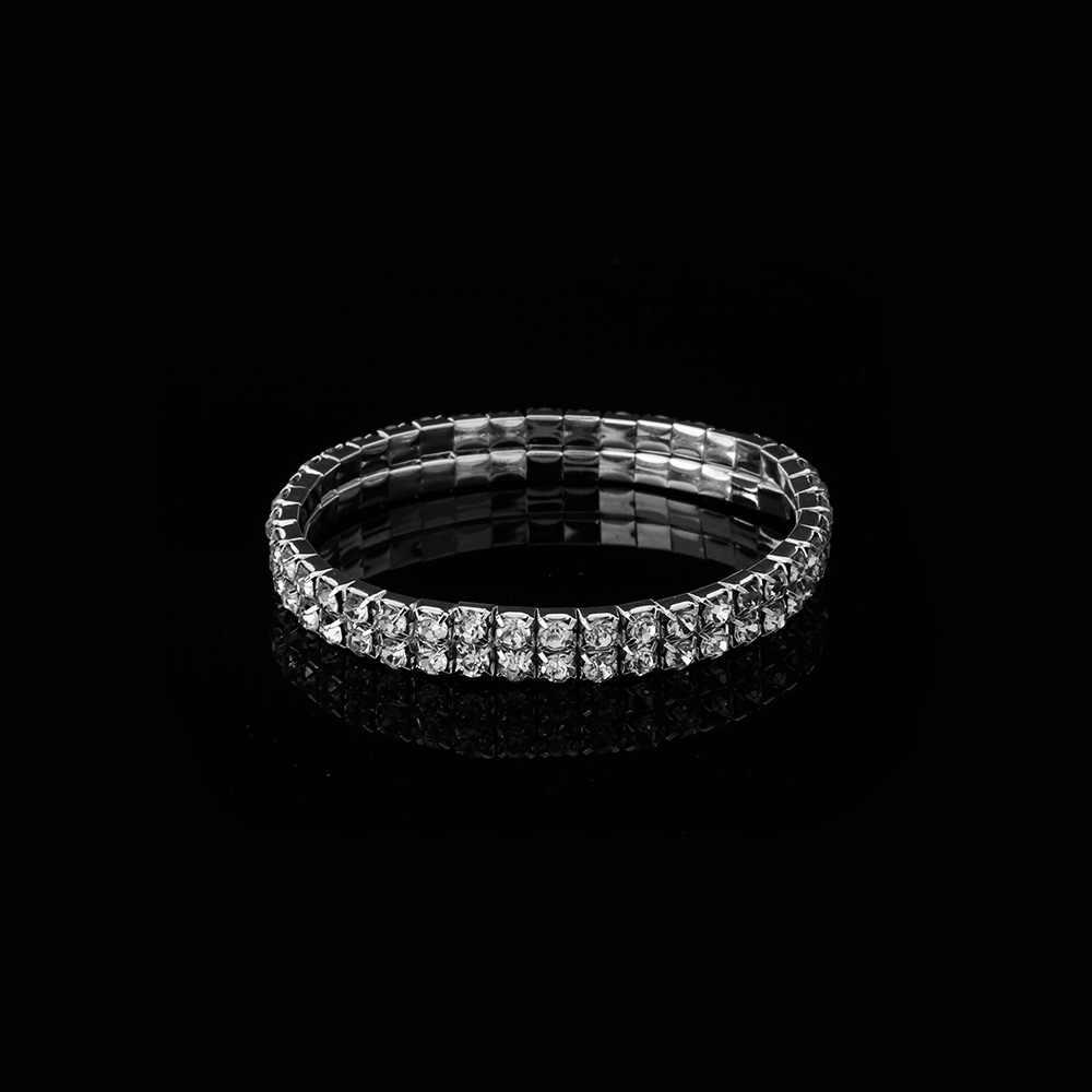 1 Pc สร้อยข้อมือคริสตัล Rhinestone สร้อยข้อมือกำไลข้อมือสายรัดข้อมือ Elastic แต่งงานเจ้าสาวเครื่องประดับ