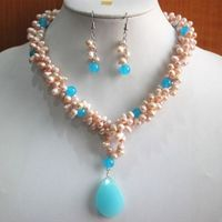 Prett Lovely Women's Wedding charm Jew.657 Fashion Pearl/Blue gem Necklace Earring Pendant Jewelry Set silver jewelry