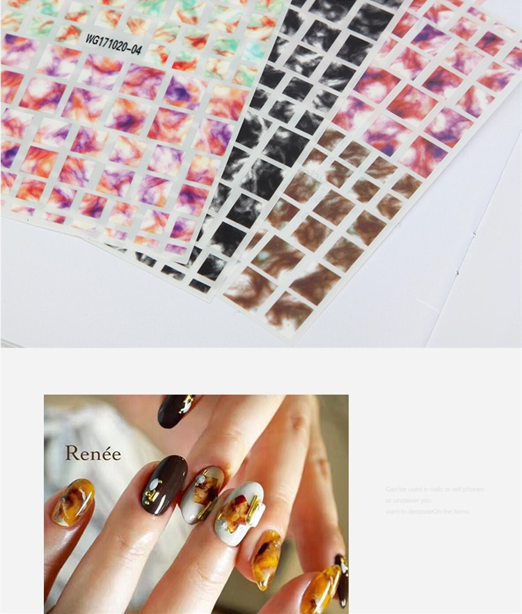 1 Sheet Marble Stone 3D Nail Art Transfer Stickers Black White Stone ...