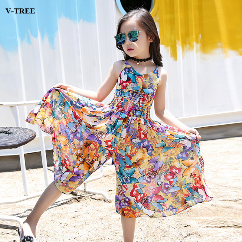 V-TREE Bohemian Girls Dress Summer Floral Dresses For Girls Beach Skirt -pants Chiffon 4-12Y Children Dress bohemian high waist floral print skirt for women
