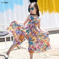 V TREE Bohemian Girls Dress Summer Floral Dresses For Girls Beach Skirt Pants Chiffon 4 12Y