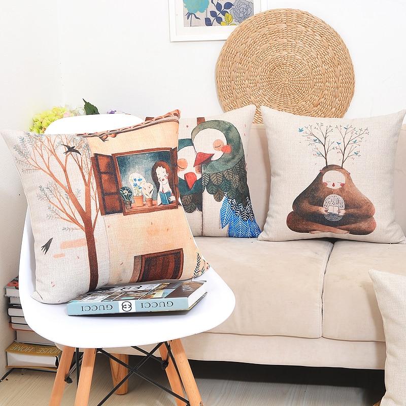 2016 New Nordic Design Retro Art Illustration Pillowcase Luxury Sofa Cusions Decorative Pillow Home Decor Throw Pillow 45*45