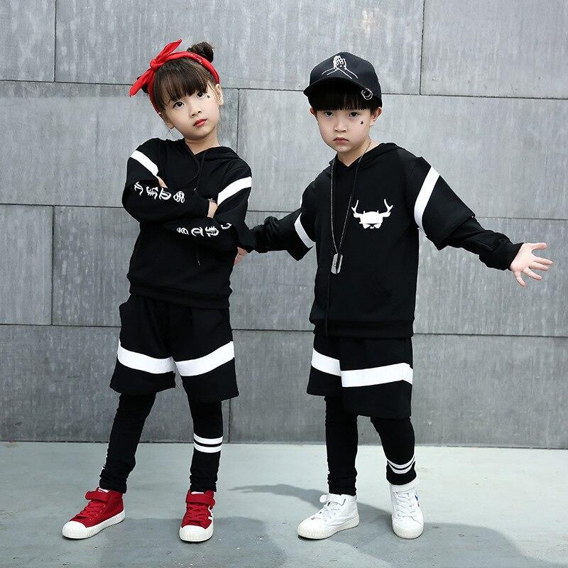 2019 2pcs New Girls Hip Hop Clothing Black Ballroom Dancing Costumes Hoodies Skirt-pant Leggings Sets Kids Dance Divided Skirts