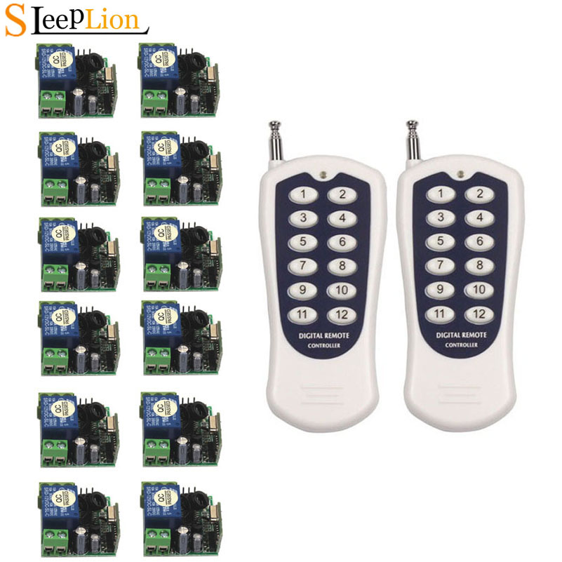 Sleeplion Mini DC 12V 1CH Wireless RF 12-key Remote Control Switch Transmitter+12 Receiver Switch Module 12V Kits 315MHz 433MHz image