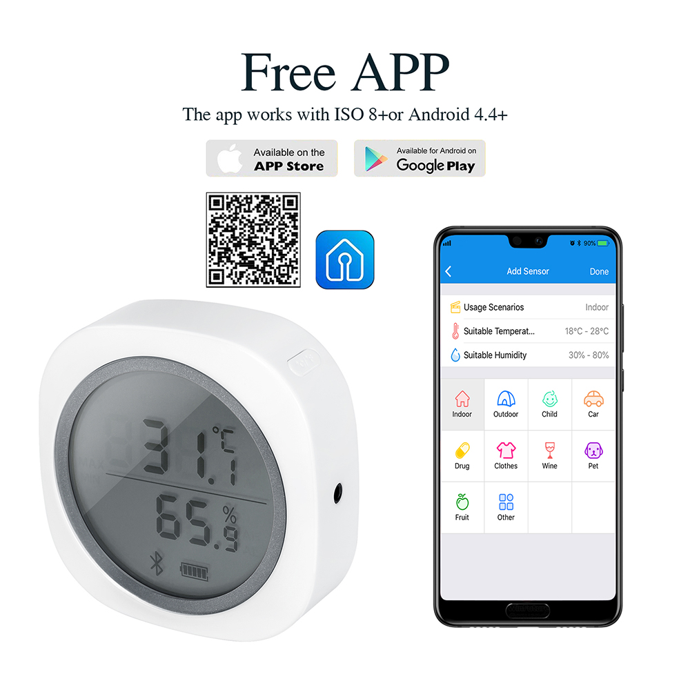 Wireless Bluetooth IBS TH1 Plus Thermometer & Hygrometer For Android & IOS Free APP For Brewing Meat Plant Cigar Storage Car