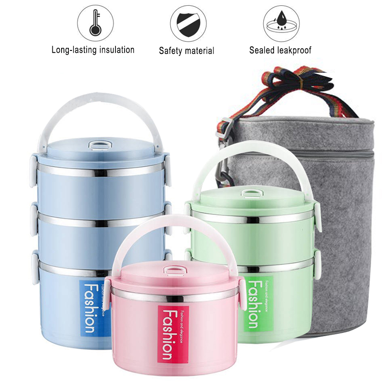 c0f2d57a4dbe US $13.99 |Fashion Solid Color Stainless Steel Lunch Box Thermal Insulation  Bento Box Kids School Lunchbox Kitchen Stackable Food Container-in Lunch ...