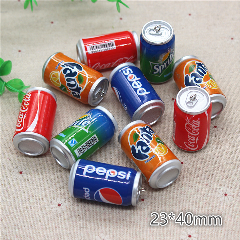 5pcs Mix Colors Cute 3D Plastic Imitation Drink Cans Miniature Food Art Supply DIY Decoration Charm Craft,23*40mm