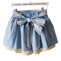 2016 New Summer Women Shorts Skirts Elastic High Waist Girls Sweet Bowknot Crochet Lace Shorts Skirt Casual Culotte Feminino