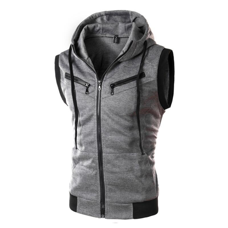 Men Hooded Waistcoat 2019 Fashion Brand Male Sleeveless Jacket Zipper Pocket Gilet Casual Cotton Men Vest Plus Size XXXL Red