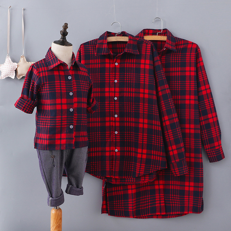Spring Autumn Plaid Red and Black T-Shirt Long Style Mother Dad Baby Daughter Son Clothes