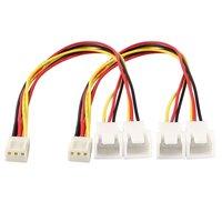 2 x 3 pin PC fan splitter extension cable female 20 cm