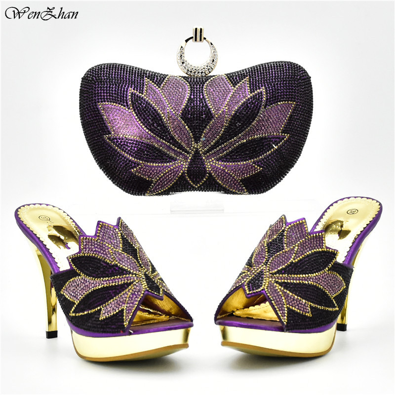 Clutch Bag Match High Heel Shoes Italian In Women Sales,2018Matching Shoes and Bag Set Decorated with Colorful Rhinestone D85 14-in Women's Pumps from Shoes    1