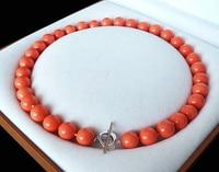 Spedizione gratuita >>>@@> naturale aaa + 12mm orange colore rosso shell della perla di modo della collana 18 ''aaa stile belle nobile reale naturale &