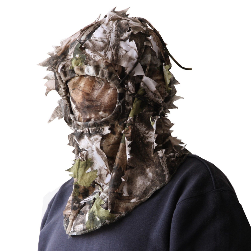 3D Sneaky Cap Hunting/face Mask Camo Head Net Mesh turkey deer MO face Hunting stalking one size Woodland cap/hat