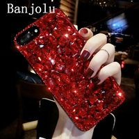 Banjolu New Luxury Bling Crystal Red Rhinestone Phone Cases For IPhone 6 6s Plus 7 7Plus