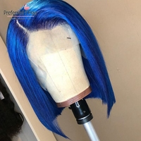 Preferred Blue Human Hair Wig 99J Lace Front Wig With Baby Hair Brazilian Remy Hair Short Lace Front Bob Wigs For Black Women