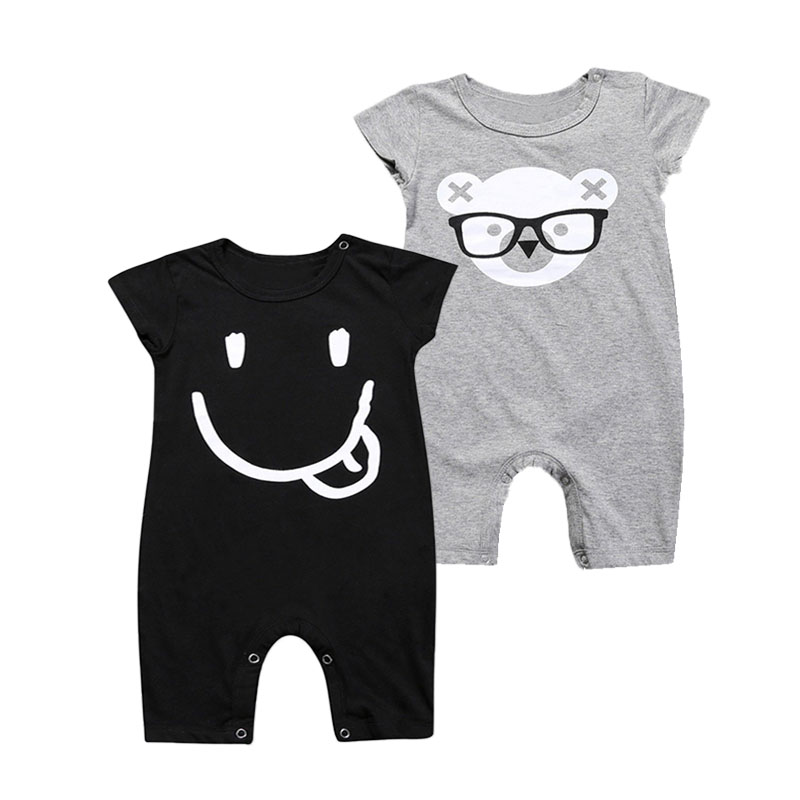 Newborn Baby Girls Boys   Rompers   Happy Face Bear Cotton   Romper   New Norn Infant Toddler Cute Jumpsuits Summer Short Sleeve Clothes