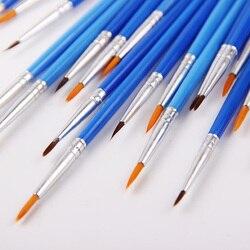 10 pçs/set Bem Pintados À Mão Fina Caneta Gancho Linha Azul Fontes Da Arte de Desenho Art Pen Pintura Escova de Nylon Escova de Pintura Caneta