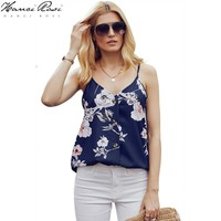 HANCI ROSI Summer Top Women Ropa Verano Mujer Tops Camis Women Flower Print V Neck Button Streetwear Loose Casual Bohemian