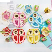 5pcs children bamboo fiber dinnerware set owl cartoon plate set for baby