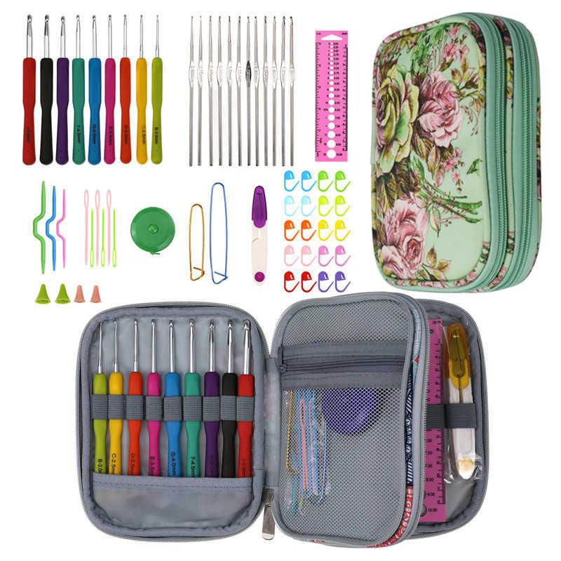 KOKNIT ensemble d'aiguilles Crochet taille mixte | Crochet ergonomique, règle de ciseaux, Kit de couture, écharpe de vêtements bricolage avec sac