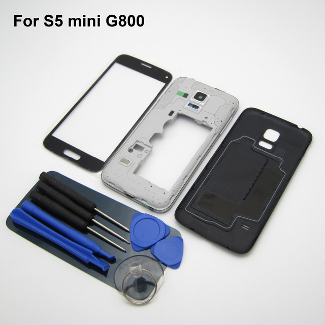 Black Original Guarantee For Samsung Galaxy S5 mini G800 Full Housing Middle Frame Bezel+Back Cover Battery Door+Outer glass