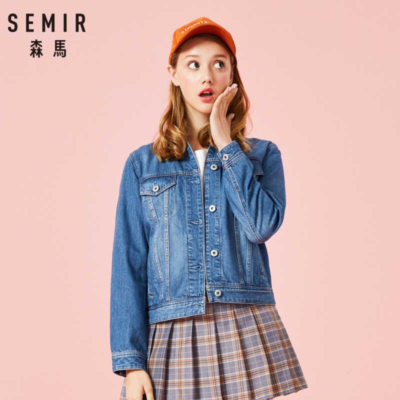 SEMIR femmes 100% coton court Denim veste avec col fille Boyfriend Denim veste avec poche poitrine et poche oblique Style Chic
