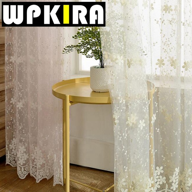 Lace Curtain Sheer Embroidered Tulle Curtains Living Room Bedroom Window Curtain  Panels Girls Pink White Blue