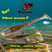 Fishing Lure Saltwater 5pcs 10cm/5.6g Esfishing Soft Bait Vibro Worm 4″ Fishing Lure Soft Swimbait Tackle Lures