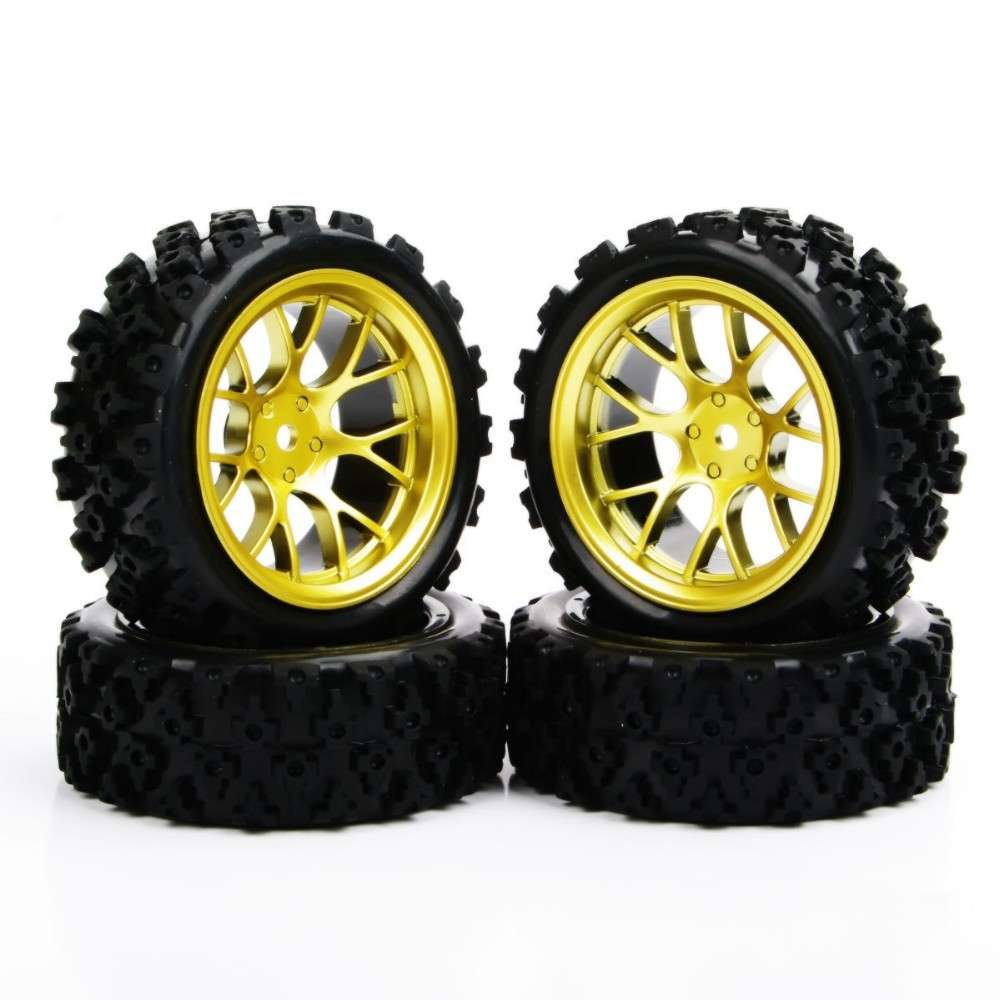 4X 1//10 Rubber Block Tires /& Wheel For RC Rally Racing Off Road Car PP0487+DHG