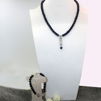 High Grade Jewelry Set Black Natural Cultured Freshwater Pearl Beads 7 8mm Fashion Necklace Bracelets Gift
