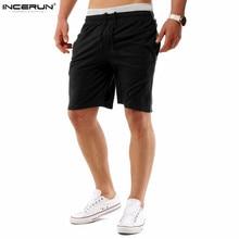 Incerun Для мужчин Шорты бермуды модные однотонные Дизайн плотная Повседневное пляжные по колено короткие masculino с боковыми карманами Drawstring xxl