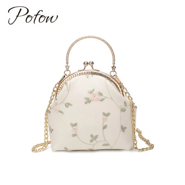 Vintage Style Handmade Flower Crossbody Bags High Quality Embroidery Linen Leather Women Handbags Lace Messenger
