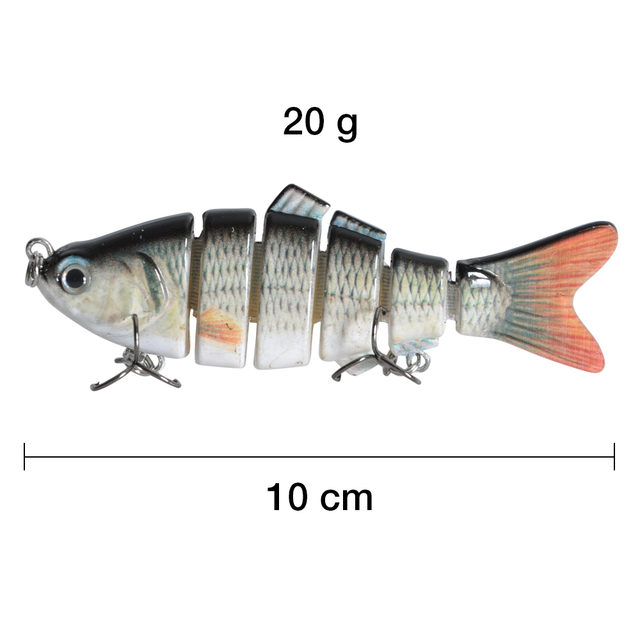 2 Pieces Fishing Lure 10cm 20g 3D Eyes 6-Segment Fishing Hard Lure Crankbait With 2 Hook