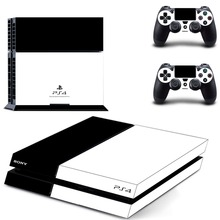 White with Black PS4 Skin Sticker For Sony Playstation 4 PS4 Console protection film and Cover Decals Of 2 Controller