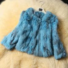 Women Real Rabbit Fur Coat Winter 2015 New Fashion Three Quarter Bat Sleeve Covered Button Short Knitted Fur Jacket ZL3320