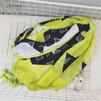 LESIDA 2017 New Arrival Cotton Scarf Cool Fluorescent Green Color Women Geometric Shawls Big Size