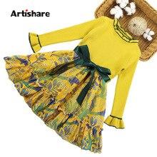 Kız kazak elbiseler çiçek desen çocuk elbise sonbahar kış kız parti elbise genç kız elbise 6 8 10 12 13 14 yıl